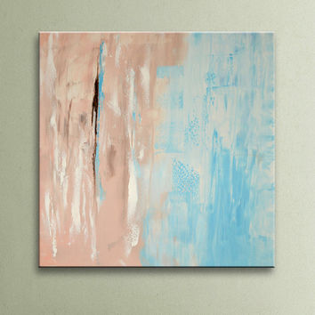 ON SALE Light Blue Brown Pink White Original Square Abstract Painting on Canvas Wall Art 32 inch Home Decor Wall Hanging Unstretched AU011