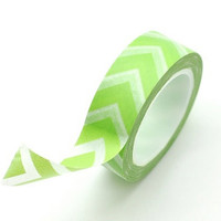 Washi Tape Paper Masking Tape - Light Green Chevron