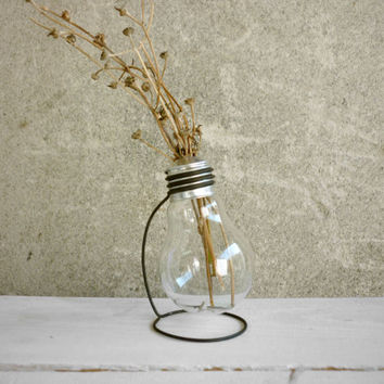 Delta, recycled light bulb E27 vase with metal stand upcycled reclaimed burnt reborn lightbulb plant holder office home decor, Paladim