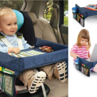 Kids Car Seat Snack and Play Travel Tray Table - On the Go Waterproof Organizer