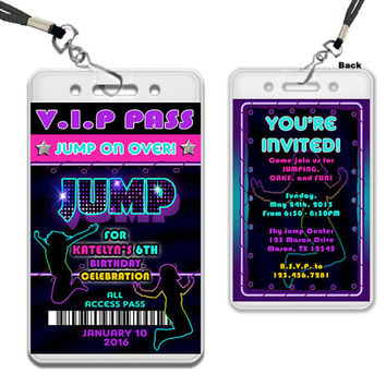 Neon Jump Birthday Invitation - VIP Pass Lanyard Invitations Girl Trampoline Invite - Bouncey Jump Purple - Girls Jump Invitation Retro 80s