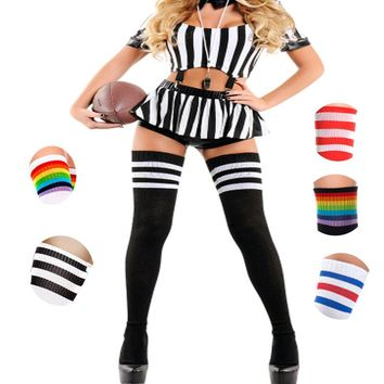 Black red Rainbow Color Stripes Over The Knee Thigh Socks - Women High Socks