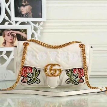 Gotopfashion GUCCI GG Letter Women Shopping Metal Chain Crossbody Satchel Shoulder Bag White I-LLBPFSH