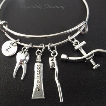 Dental hygiene theme.... bracelet, Stainless Steel Expandable Bangle, monogram personalized item No.230