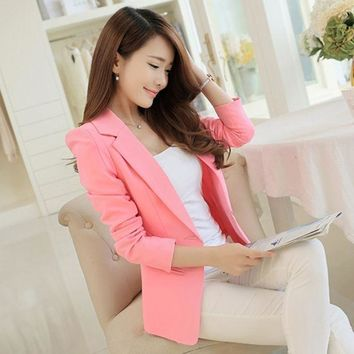 Hot Selling Fashion Elegant Business Formal Office Suits Wear Women Long Sleeve Pink/black/white Blazer Suit Jacket Xxl