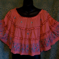 Coral shirt, shawl, cape, poncho, top, hippie boho top, Bohemian, embroidered, draped back, festival wear, summer cover up