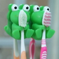 niceeshop(TM) Cartoon Animal Green Frog Sucker Toothbrush Holder Couple Toothbrush Rack (Set of 2) With Accessory Cable Tie