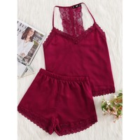 Burgundy Polyester Plain Pajama Set