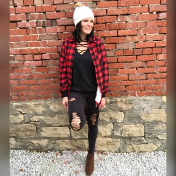 Buffalo Plaid Sherpa Lined Flannel Top