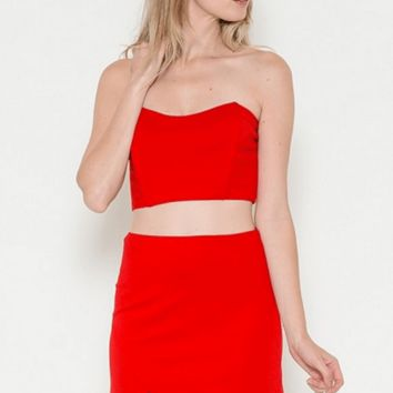 Red Crop Top and Mini Skirt Set