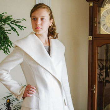 White Wool Coat / Gorgeous Pure Wool Autumn Fitted Trench Coat / Cowl Neck Bridal Wedding Designer Coat / One of A Kind, Small - Medium