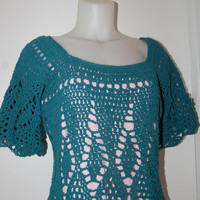 Teal Silk Top in size medium FREE US shipping by lacasa110 on Etsy