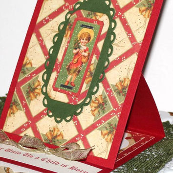 handmade Christmas greeting card, paper handmade Graphic 45 Card, For Unto Us a Child is Born 3D pop up Christmas card, Easel Card