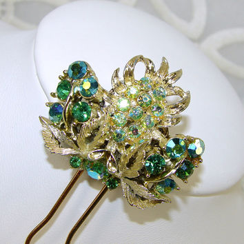 Green Aurora Borealis Rhinestone Hair Comb Emerald Wedding Peridot AB Vintage Costume Jewelry Hairpiece Ballroom Pageant Bohemian Accessory