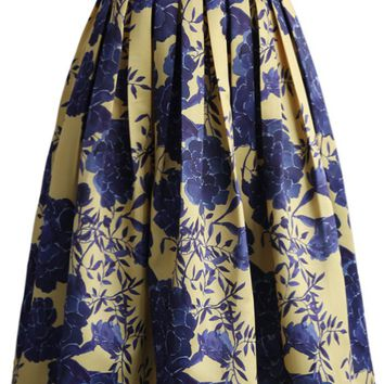 Blue Flower Memories Printed Midi Skirt
