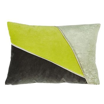 Color Blocked Quince & Charcoal Velvet Lumbar Pillow