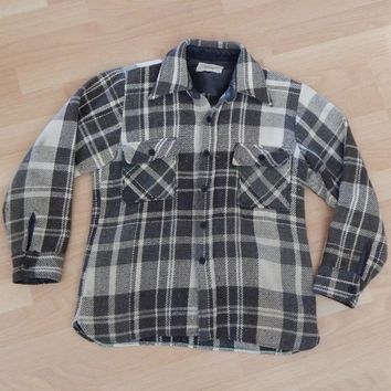 Rare Vintage Mens 50s CPO Wool Plaid Shirt