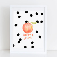 Black and White Polka Dot Print Typography Minimalist Modern Home Decor Youre a Peach Artwork Watercolor Office Decor Wall Gallery