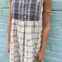 Carolina Dreamin Sleeveless Plaid Button Shift Dress