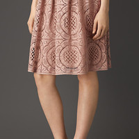 Floral Lace Cotton Blend Skirt