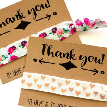 Bridesmaids Gift Hair Ties | Thank you favor | Bridal shower favor |  Wedding thank you favor