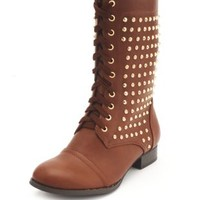 Studded Lace-Up Combat Bootie by Charlotte Russe - Brown