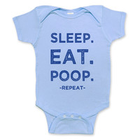 Eat Sleep Poop - Childrens Clothing - Funny baby clothes - Funny Saying Bodysuit- Light blue Onesuit
