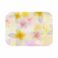 "Sylvia Cook ""White Watercolor Plumerias"" Yellow Pink Digital Place Mat"