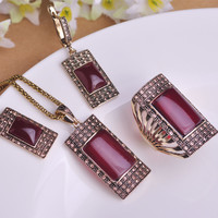 Vintage Ruby Jewelry Sets Antique Gold Plated Square Red Necklace Earring Ring Set Princess Hooks Earrings Big Size Rings Colar