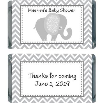 18 Grey Elephant Baby Shower Miniature Chocolate Bar Wrappers