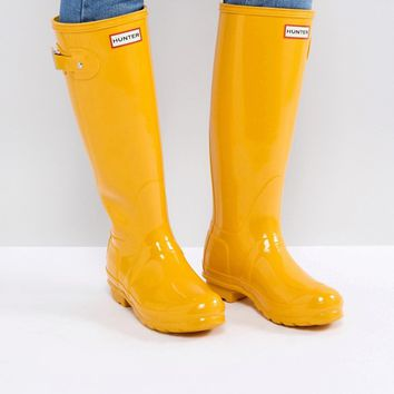 Hunter Original Tall Gloss Yellow Wellington Boots at asos.com