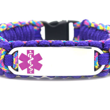 275 Paracord Bracelet with Engraved Small Rectangle Stainless Steel Medical Alert ID Tag - Purple
