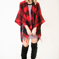Red/Black Checkered Poncho