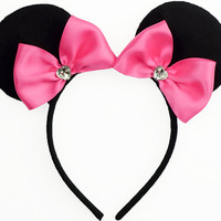 Minnie Mouse Ears Hot Pink Mouse Ears Bow Halloween Costume Pink Minnie Mouse Bow Minnie Ears Pink Mickey Ears Headband Minnie Mouse Outfit