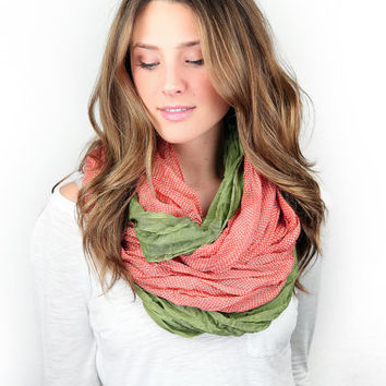infinity scarf, color block, coral/green polka dot, cotton lightweight infinity scarf