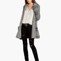 Lucky Brand Border Cardigan Womens - Black Multi