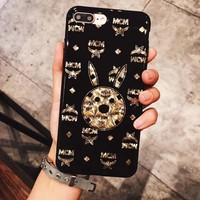 CHANEL MCM Electroplating dazzle black iphone 6 6s 7 7plus iPhone Phone Cover soft Case soft shell