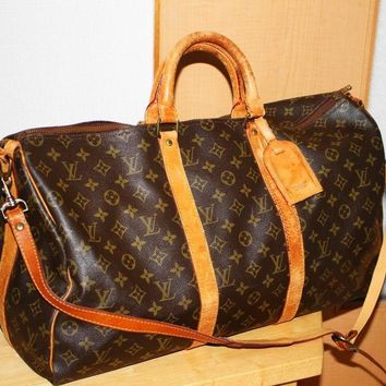 Auth Louis Vuitton Monogram Keepall Bandouliere 50 Boston Bag M41416 LV