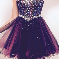 A Line Sweetheart Neck Short Prom Dress, Graduation Dress, Homecoming Dress