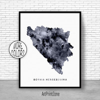 Bosnia Hercegovina Print, Watercolor Map, Map Painting, Map Artwork, Country Art, Office Decorations, Country Map Art Print Zone