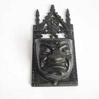 Victorian Cast Iron Grumpy Face Match Holder