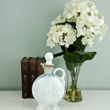 1957 Jim Beam Decanter in Milk Glass by Fenton, White Milk Glass Decanter Jug with Stopper, Jim Beam Collectible Bottle, Bourbon Bottle