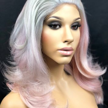 Pastel Wig, Pastel Pink Wig, Pastel Blue Wig, Pastel Purple Wig, Grey Ombre Lace Front Wig, Human Hair Blend Wig