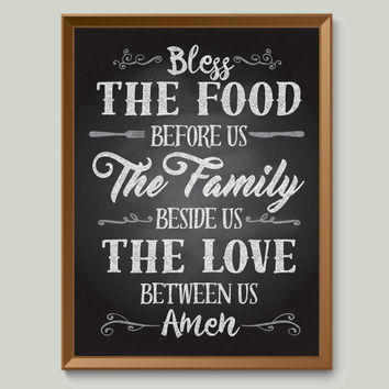 Bless This Food Family Poster - dining room home decor chalkboard meal time prayer amen together meals