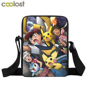 Anime Pokemon Pikacun Mini Messenger Bag Kyogre Pidgeotto Girls Boys School Bags Kids Book Bag Shoulder Bags For Snacks Lunch