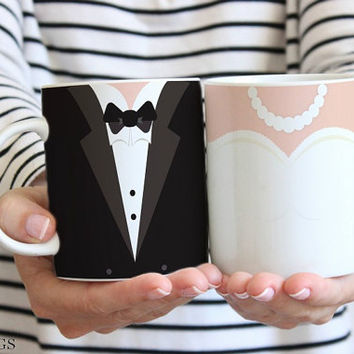 Bride and Groom Mugs, Wedding Mugs, Couples Mugs Set, Wedding Cups, Bridal Shower Gift, Bride Gift, Wedding Gifts, Engagement Gifts (w611)