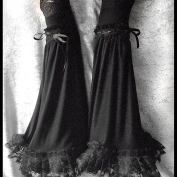 Morrighan Extra Long Arm Warmers - Black - Pleated Lace - Wide Bell Sleeves - Lolita Gothic Goth Victorian Rococo Dark Vampire Wedding EGL