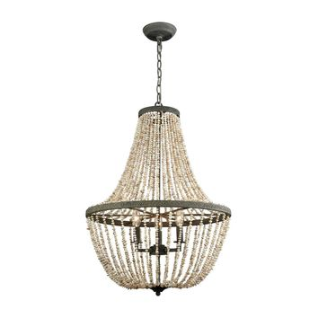 Cote des Basques Pearl Chandelier Pebble Grey,Natural Shell