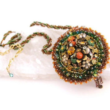 Bead Embroidery Necklace Repurposed vintage by colorsoulartistry