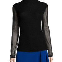 Maxina Merino Sweater w/ Sheer Sleeves, Size: